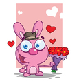 Pink Bunny Holding A Bouquet Of Valentines Flowers vector image vector image