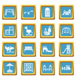 playground equipment icons set sapphirine square vector image