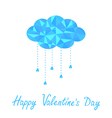 Polygonal cloud with rain drops Valentines Day vector image vector image