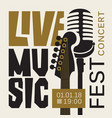 poster for live music festival with guitar and mic vector image vector image