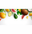 realistic exotic fruits background vector image vector image