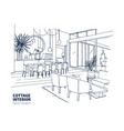 rough monochrome drawing house or summer vector image