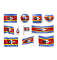 set swaziland flags banners banners symbols vector image vector image