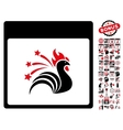 Sparkle Rooster Calendar Page Flat Icon vector image vector image