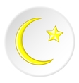Star and crescent icon flat style vector image