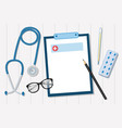 stethoscope on a white table of the doctors vector image vector image