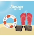 Summer design sandals float and glasses icon vector image vector image