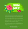 summer sale emblem exotic pink flower brush stroke vector image vector image