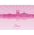 Tours skyline in purple radiant orchid vector image vector image