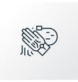 tracking glove icon line symbol premium quality vector image