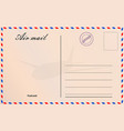 travel postcard in air mail style with paper vector image vector image