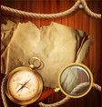 vintage background with compass magnifying glass vector image vector image