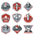 vintage firefighting labels set vector image vector image