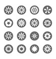 White flower flat icon set vector image