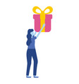 woman holding gift box vector image vector image