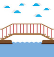 Wooden Bridge Over The River vector image