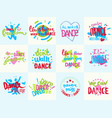 handdrawn lettering love dance and music phrase vector image