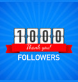 1000 followers thank you social sites post thank vector image vector image