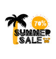 advert card with lettering 70 summer sale in vector image