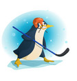aggressive penguin hockey player vector image vector image