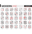 bakery red black thin line icon vector image vector image