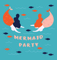 banner for marine sea theme mermaid party vector image
