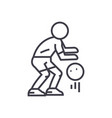 Basketball player line icon sign