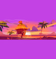 Beach hut or bungalow at beautiful sunset view