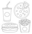 black and white fast food icon set vector image vector image