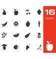 black fruits and vegetables icons set on white vector image vector image