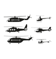 Black helicopter silhouette vector image vector image
