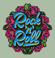 calligraphic lettering rock and roll in a frame vector image vector image