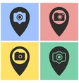 Camera pin icon set vector image