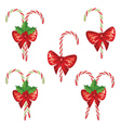 Candy Canes with Bow Set3 vector image vector image
