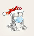 christmas at coronavirus woman portrait wearing vector image