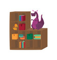 colorful boxes books and dragon toys on cabinet vector image