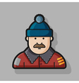 contour icon man in down jacket and hat vector image vector image