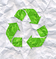 Crushed Paper With Recycle Sign vector image vector image