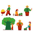 farmer women man in professional uniform vector image vector image