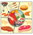 flat summer picnic weekend composition vector image vector image