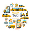 flat taxi service round concept vector image vector image