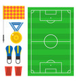 football soccer icons player trophy competition vector image vector image