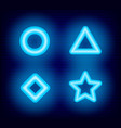 geometric shapes neon signs set star triangle vector image