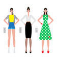 girls in various clothes with various makeup vector image