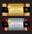 gold and silver gift voucher or gift certificate vector image vector image