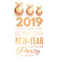 happy new 2019 year poster template with gold vector image vector image