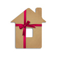 House from cardboard with ribbon and bow vector image
