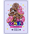 invitation for donuts party flyer vector image vector image