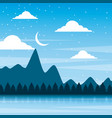 landscape night mountains forest pine tree and sky vector image