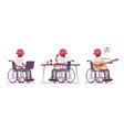 male black young wheelchair user with laptop vector image vector image